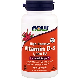 NOW Vitamine D3 1000 IE 360 softgels Biotheek.com Bigbizz.nl