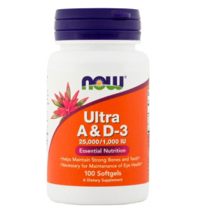 Ultra vitamine A en D3 25.000 1000, 25,000 400 IU, 100 Softgels - NOW FOODS - Biotheek.com