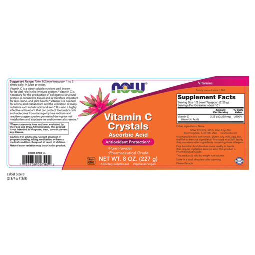 NOW817 Vitamine C-kristallen, poeder, 8oz (227g) Biotheek.com